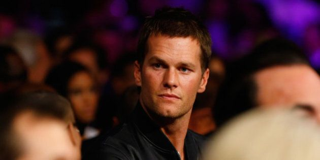 LAS VEGAS, NV - MAY 02: NFL quarterback Tom Brady attends the welterweight unification championship bout...