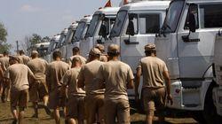 Inspection du convoi humanitaire russe en