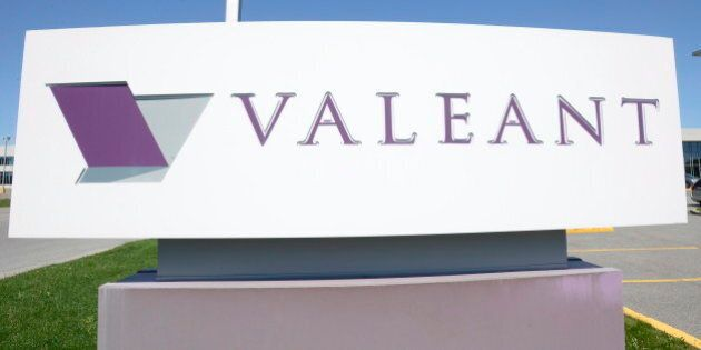 The sign of Valeant Pharmaceutical is pictured at its head office in Montreal on Monday May 27, 2013....