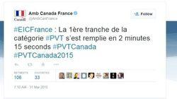 France : Les PVT canadiens se sont envolés au rythme de 17 par