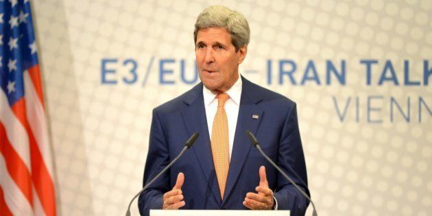 US Secretary of State John Kerry speaks during his final press conference after talks over Tehran's nuclear...