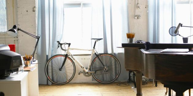 Bicycle stands besides