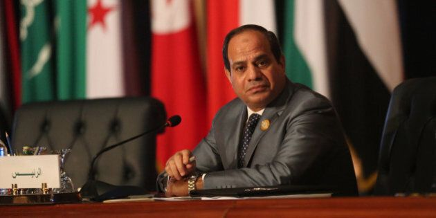 Egyptian President Abdel Fattah al-Sisi chairs an Arab foreign ministers meeting during an Arab summit...