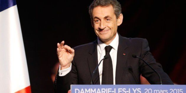 Current UMP right-wing opposition party President and former French President, Nicolas Sarkozy speaks...
