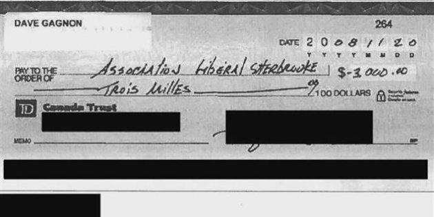 Encaissé, un chèque au Parti libéral du Québec mystérieusement