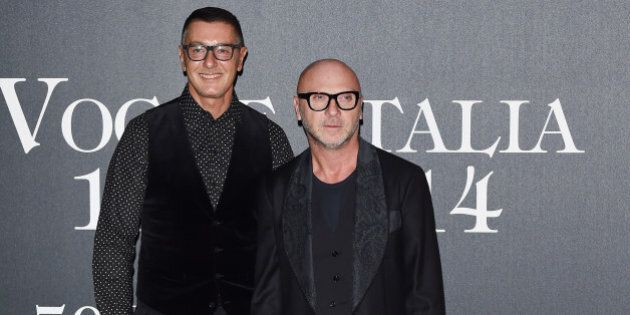 MILAN, ITALY - SEPTEMBER 21: (L-R) Stefano Gabbana and Domenico Dolce attend Vogue Italia 50th Anniversary...
