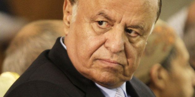 Yemen's Vice President Abed Rabbo Mansour Hadi attends an inauguration ceremony for his presidential...