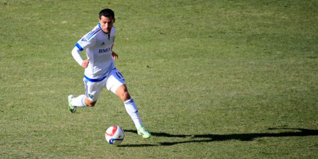 WASHINGTON, DC - MARCH 07: Dilly Duka #11 of Montreal Impact dribbles the ball in the first half against...