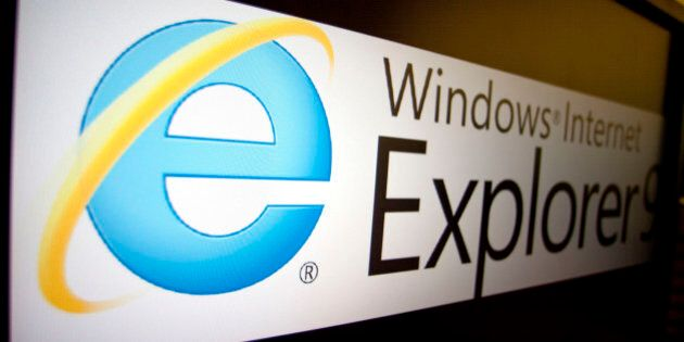 The logo of Microsoft Corp.'s Internet Explorer 9 is displayed on a computer monitor in Washington, D.C.,...