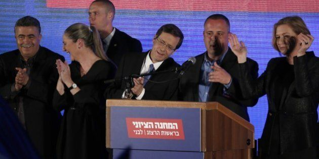 Co-leaders of the Zionist Union party, Israeli Labour Party leader Isaac Herzog (3rd from R) and Israeli...
