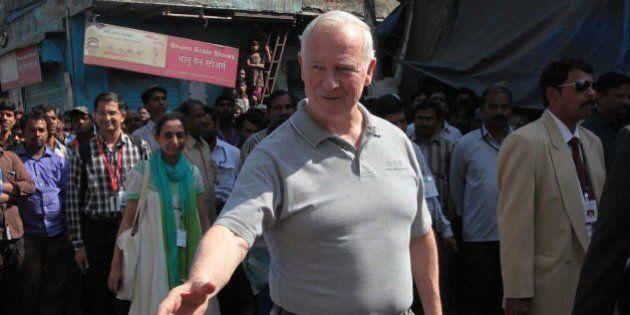 MUMBAI, INDIA - MARCH 1: David Johnston, Governor General of Canada visits Dharavi slums to see grassroots...