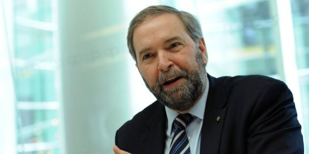 Tom Mulcair, leader of Canada's main opposition New Democratic Party, speaks during an interview in...