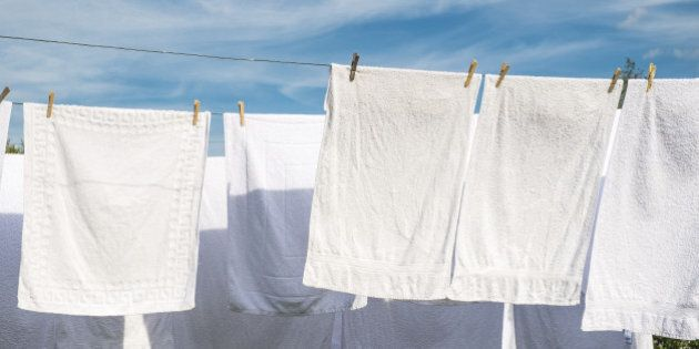 Towels drying in the sun in the South of France.