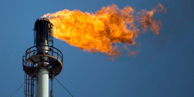 Flames shoot out of one of the flare stacks at the Petroleos Mexicanos (Pemex) Miguel Hidalgo Refinery...