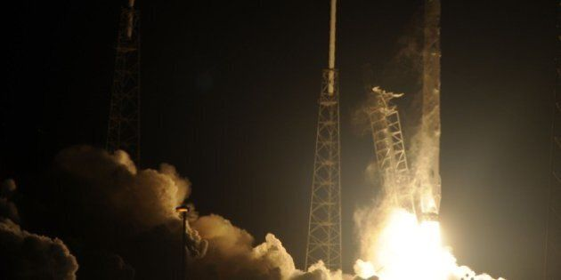 Space X's Falcon 9 rocket launches on January 10, 2015 as it heads to space from pad 40 at Cape Canaveral,...