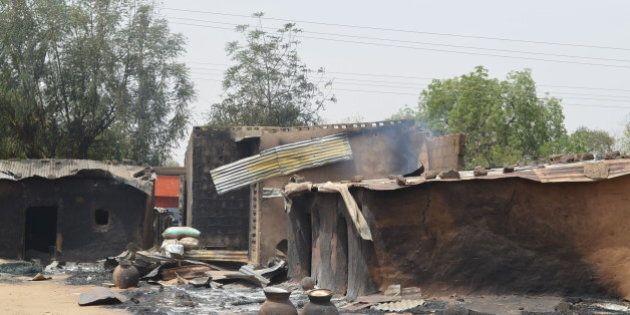This photo shows razed homes in Mainok, outside Maiduguri, Borno State, Nigeria, on March 6, 2014. At...