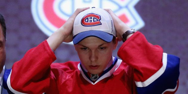 PHILADELPHIA, PA - JUNE 27:  NikitaScherbak is selected twenty-seventh by the Montreal Canadiens in the first round of the 2014 NHL Draft at the Wells Fargo Center on June 27, 2014 in Philadelphia, Pennsylvania.  (Photo by Bruce Bennett/Getty Images)