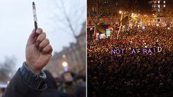 Charlie Hebdo: Le crayon, symbole de la solidarité dans les manifestations en