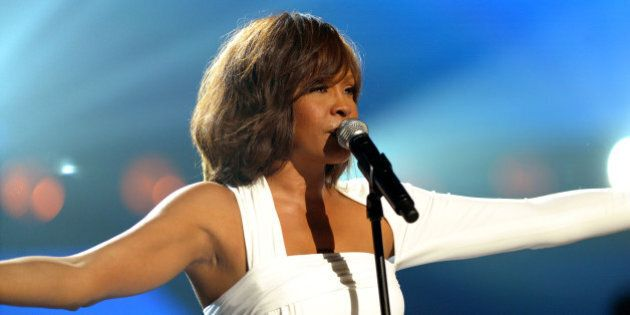 LOS ANGELES, CA - NOVEMBER 22: Singer Whitney Houston performs onstage at the 2009 American Music Awards...