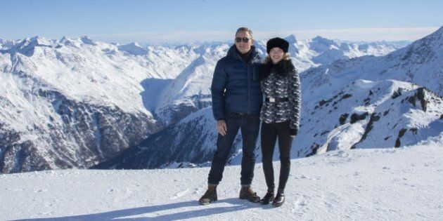 British actor Daniel Craig (L) poses with actress Lea Seydoux of France in front of a Tyrolean Alps panorama during a photo call of the new James Bond film 'SPECTRE' in the Austrian ski resort of Soelden on January 7, 2015. AFP PHOTO / JOE KLAMAR (Photo credit should read JOE KLAMAR/AFP/Getty Images)
