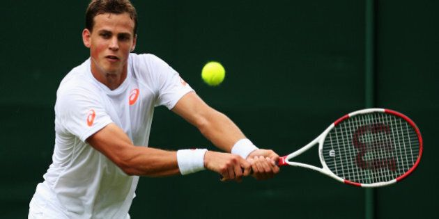LONDON, ENGLAND - JUNE 23: Vasek Pospisil of Canada in action during his Gentlemen's Singles first round...