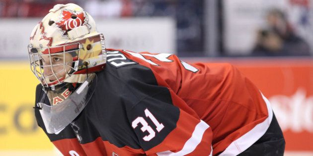 TORONTO, ON- JANUARY 2 - Zachary Fucale as Team Canada plays Team Denmark in the quarter final round...