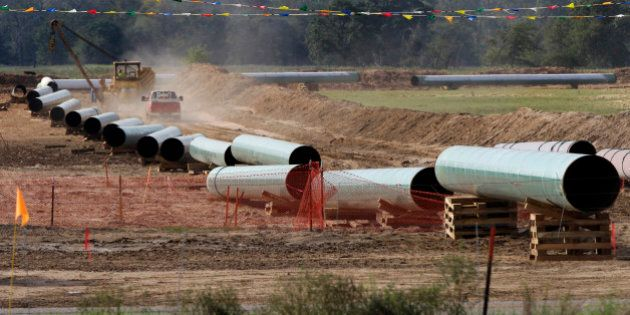 File - In this Oct. 4, 2012 file photo, large sections of pipe are shown in Sumner, Texas. Republicans...