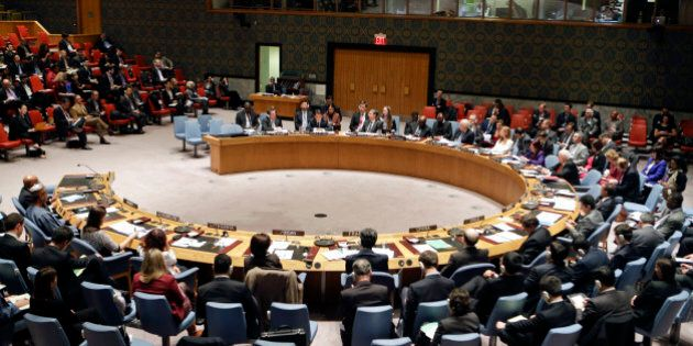 The U.N. Security Council listens to South Korea's United Nations Ambassador Oh Joon during a meeting...
