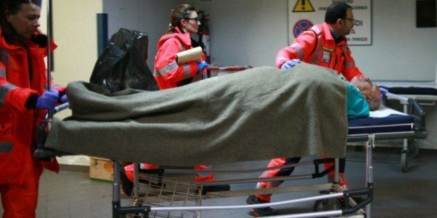 An injured passenger arrives at the Antonio Perrino hospital in Brindisi, southern Italy, rescued from...