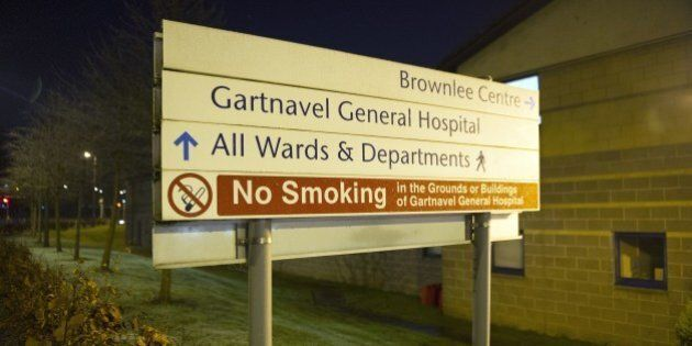 Signage outside the specialist Brownlee Centre on the Gartnavel Hospital campus in Glasgow on December...