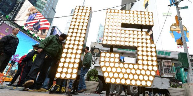 NEW YORK, NY - DECEMBER 16: New Year's Eve numerals arrive in Times Square prior to installation atop One Times Square, at Times Square on December 16, 2014 in New York City. (Photo by Slaven Vlasic/Getty Images)