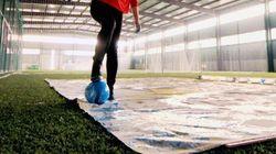 Elle réalise des portraits de joueurs de foot peints avec un ballon