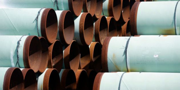 Some of more than 350 miles of pipe awaiting shipment for the Keystone XL oil pipeline is stored at Welspun...