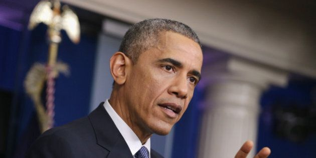 WASHINGTON, DC - DECEMBER 19: U.S. President Barack Obama speaks to members of the media during his last...