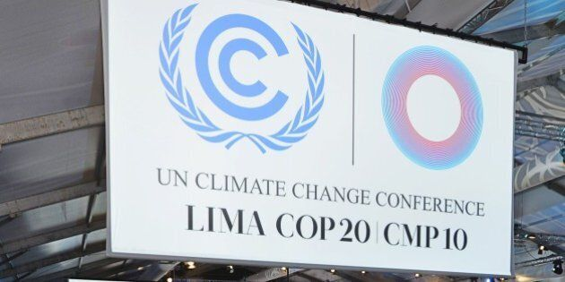 A plenary hall remains empty after a session of the COP20 was postponed on December 13, 2014 in Lima,...