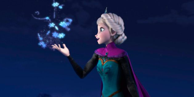 FILE - This file image provided by Disney shows Elsa the Snow Queen, voiced by Idina Menzel, in a scene...