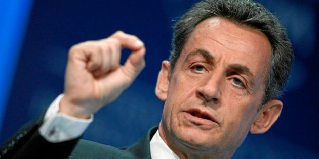 DAVOS/SWITZERLAND, 27JAN11 - Nicolas Sarkozy, President of France, gestures during the session 'Vision...