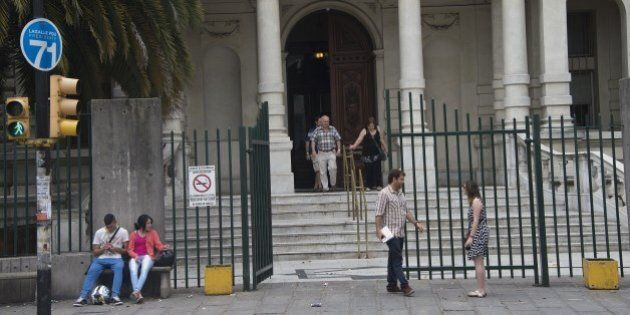 Facade of the Military hospital in Montevideo on December 7, 2014, where the Guantanamo detainees arrived...