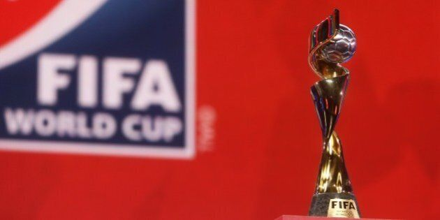 The FIFA Women's World Cup trophy sits on stage during the FIFA Women's World Cup Canada 2015 tournament...