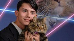 Un chat + des lasers = la photo de classe