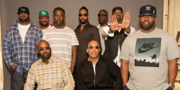 BURBANK, CA - OCTOBER 02: (L-R, standing) Rappers Ghostface Killah, Method Man, GZA, RZA, Inspectah Deck,...