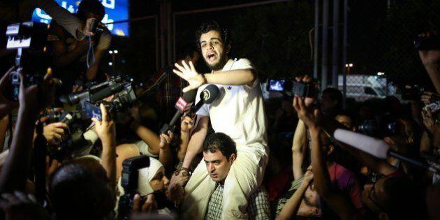 Egyptian Al-Jazeera journalist Abdullah Elshamy, who has been on hunger strike, gestures as he speaks...