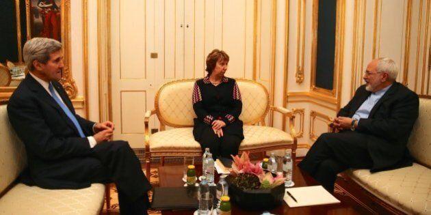 VIENNA, AUSTRIA - NOVEMBER 22: United States Secretary of State John Kerry (L) and former EU Foreign...