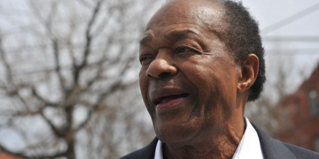 WASHINGTON, DC - APRIL 1:Former DC Mayor, Marion Barry chats with reporters as well as campaign supporters of Vincent Gray at the Allen Chapel A.M.E. Church to support Vincent Gray's second run for Mayor of DC on Tuesday April 1, 2014 in Washington, DC.(Photo by Marlon Correa/The Washington Post via Getty Images)