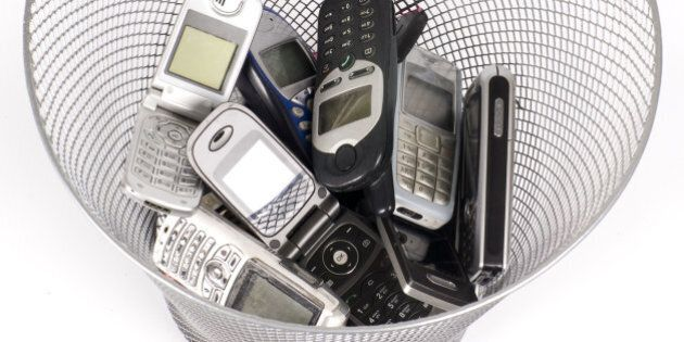 old cellphones in the...
