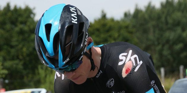 LE TOUQUET-PARIS-PLAGE, FRANCE - JULY 08: Chris Froome of Great Britain and Team Sky chases back to the...