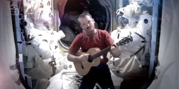 This image provided by NASA shows astronaut Chris Hadfield recording the first music video from space...