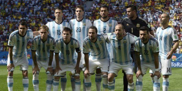 Argentina's national team (from top L) defender Martin Demichelis, defender Jose Maria Basanta, defender...