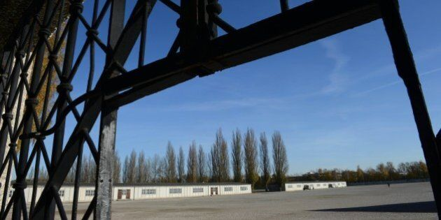 The entrance gate without the door of the former concentration camp in Dachau, southern Germany, is pictured...