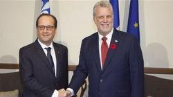 Le président français, François Hollande, passe par Québec
